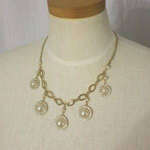 Crystal Pearl Statement Necklace